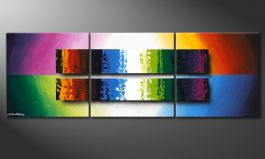 Colourful painting 'Expression of Colours' 150x50cm