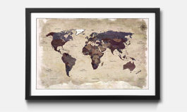 Our framed prints world maps from 3200 framed art print old worldmap gumiabroncs Choice Image
