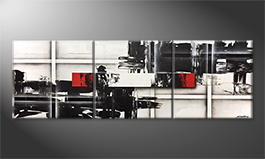 Hand-painted painting 'Clash Of Opposites' 240x80cm