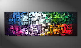 Hand-painted painting 'Color Cubes' 240x80cm