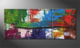 Hand-painted painting 'Color Storm' 150x65cm