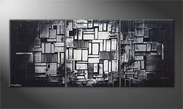 Hand-painted painting 'Cubic Moonshine' 180x70cm