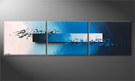 Hand-painted painting 'Deep Sea Signs' 225x60cm