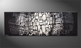 Hand-painted painting 'Dissappear Of Contrast' 210x70cm