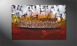 Hand-painted painting 'Flammed Silver' 120x80cm