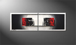 Hand-painted painting 'Glowing Black' 120x40cm