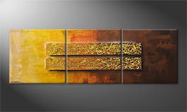 Hand-painted painting 'Golden Afterglow' 210x70cm