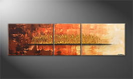 Hand-painted painting 'Golden Night' 210x60cm