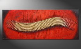 Hand-painted painting 'Golden Wing' 150x60