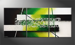 Hand-painted painting 'Green Connection' 180x80cm
