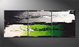 Hand-painted painting 'Green Dimension' 180x70cm