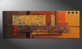 Hand-painted painting 'Liquid Gold' in 150x55cm
