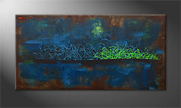 Hand-painted painting 'Living Water' 140x70cm