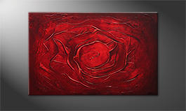Hand-painted painting 'Red Rose' 120x80cm