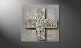 Hand-painted painting 'Silver Cross' 80x80cm