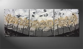 Hand-painted painting 'Silver Trees' 180x70cm