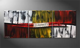 Hand-painted painting 'White Flames' 180x70cm