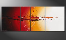 Hand painted picture 'Fiery Splash' 130x50cm