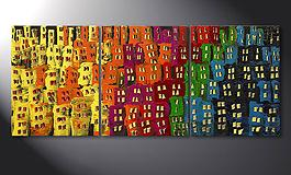 Living room art 'Afterglowing City' in 120x50cm