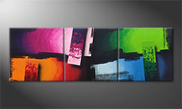 Living room painting 'Color Clash' 210x70cm