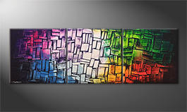 Living room painting 'Expressive Colors' 210x70cm