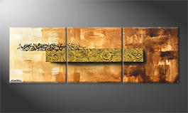 Living room painting 'Golden Roses' 180x60cm
