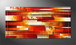 Living room painting 'Lines Of Fire' 140x70cm