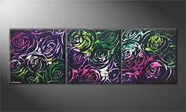 Living room painting 'Night Of Roses' 180x60cm