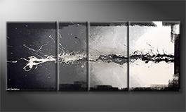 Living room painting 'Switched Black' 190x70cm