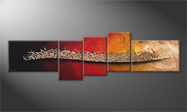 Modern painting 'Burning Silver' 210x60cm