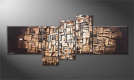 Modern painting 'Choclate Cubes' 210x90cm