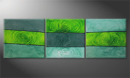 Modern painting 'Green Roses' 225x75cm