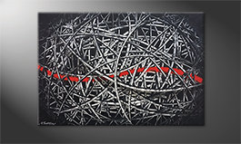 Modern painting 'Red Line' 120x80cm
