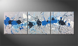Modern painting 'Water Drops' 210x70cm