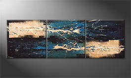 Modern painting 'Water Lights' 210x70cm