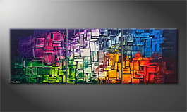 Modern wall-art 'Invasion Of Colors' 210x70cm