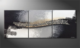 Our wall-art 'Connecting Silver' 180x70cm