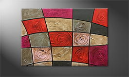 Our wall-art 'Petrified Roses' 120x80cm