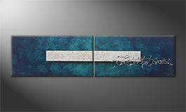 Our wall-art 'Silver Melody' 200x50cm