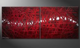 Painting modern 'Red Push' 120x50cm
