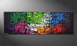 The exclusive painting 'Cubic Colors' 210x70cm