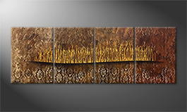 The exclusive painting 'Golden Fontains' 200x60cm