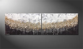 The exclusive painting 'Silver Trees' 200x60cm