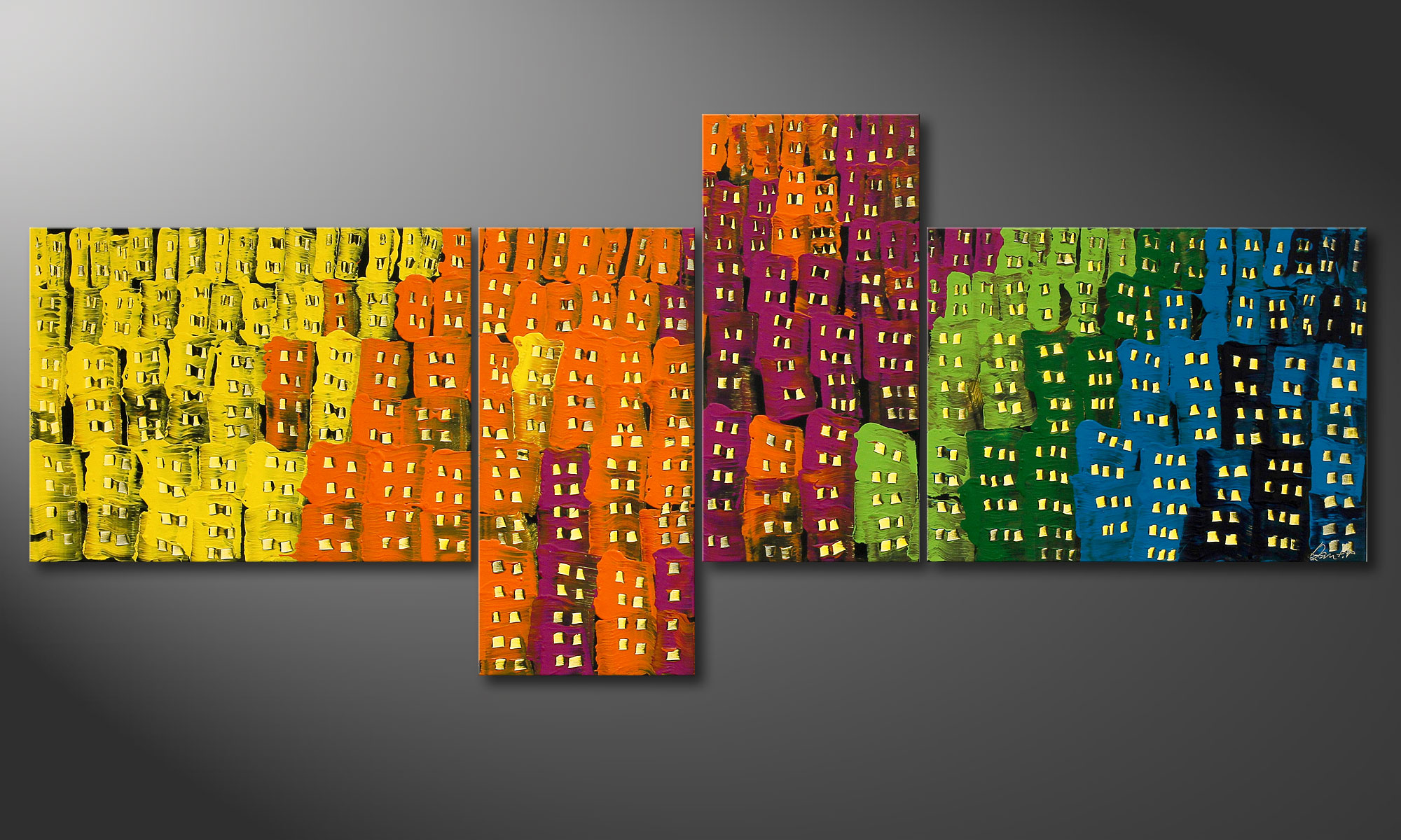 Modern painting crazy town 240x100cm paintings xxl - Tableau contemporain grand format ...