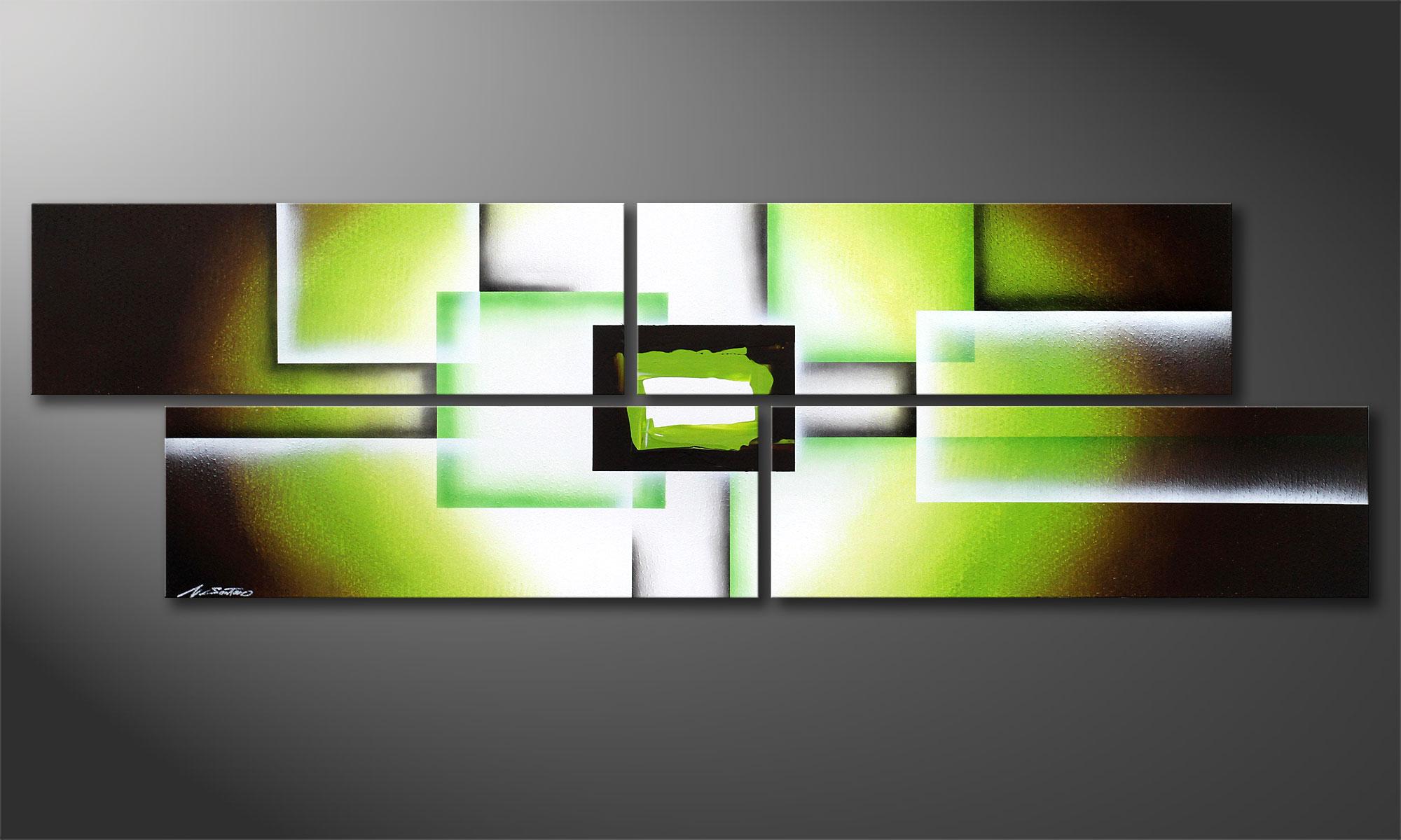 Green spirit 200x60cm wall art paintings xxl for Green wall art
