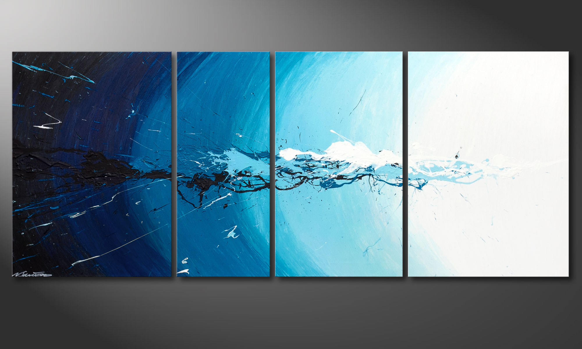 painting water splash in 170x70cm paintings xxl. Black Bedroom Furniture Sets. Home Design Ideas