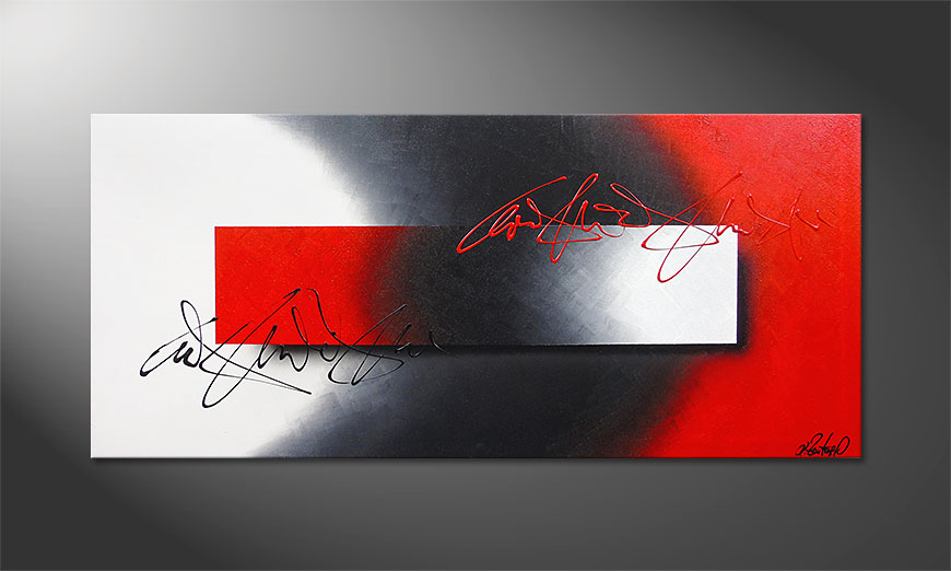 Hand made acrylic painting Battle of Contrast 150x70x2cm