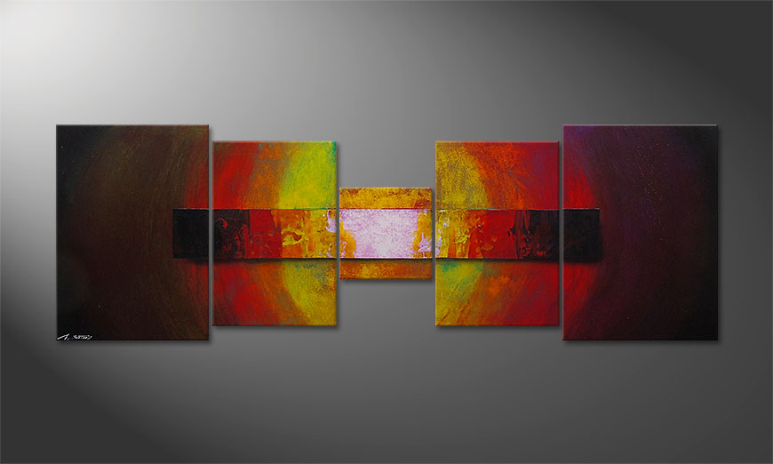 Hand-painted painting Afterglowing Sky 210x70x2cm