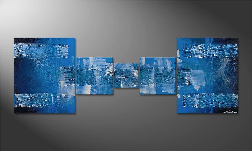 Hand-painted painting Blue Waves 180x60x2cm