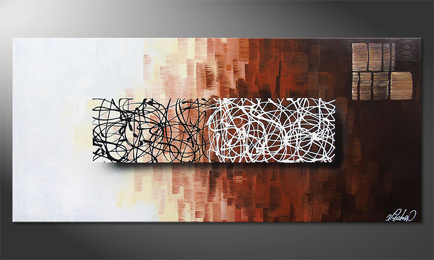 Hand-painted painting Lights in the Dark 150x70x2cm